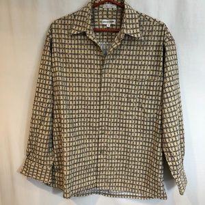 Pierre Cardin men's shirt sz M Vintage beige gray